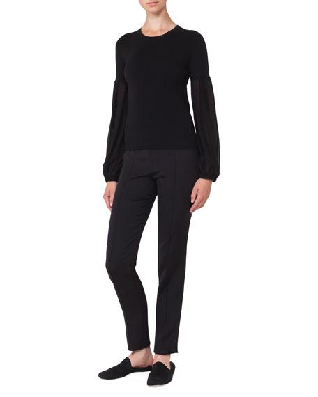 Round-Neck Chiffon-Sleeve Knit Cashmere-Blend Blouse