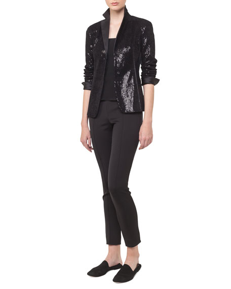 Sequin Satin Lapel Snap-Front Cocktail Jacket