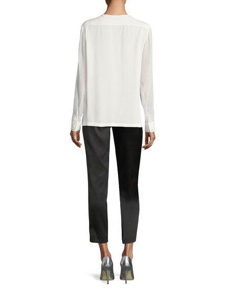 Trapunto-Stitch Silk Shirt