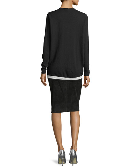 V-Neck Wool-Cashmere Pullover with Contrast Hem