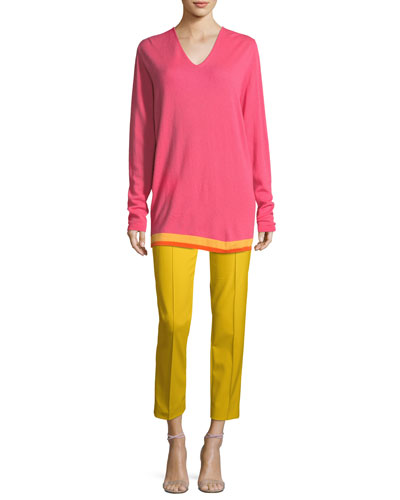 V-Neck Wool-Cashmere Pullover with Contrast Hem and Matching Items