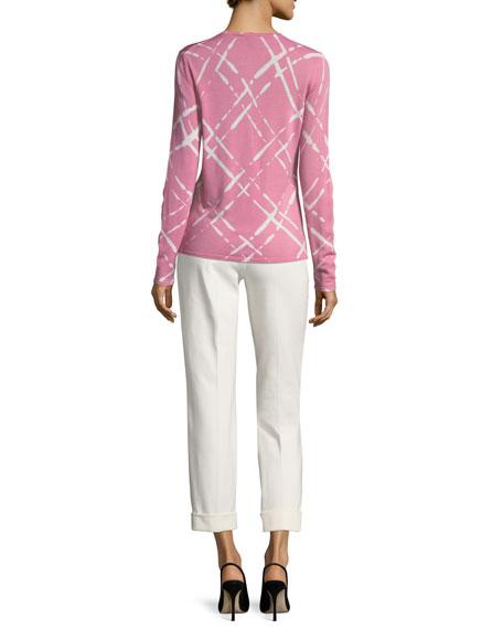 Broken Plaid Cap-Sleeve Sweater