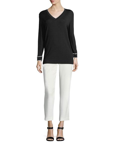 Contrast-Tip V-Neck Sweater