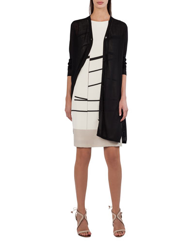 Long-Sleeve Button-Front Cardigan with Side Slits and Matching Items