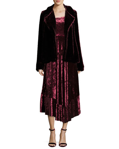 Vixen Asymmetric-Neck Sleeveless Velvet Dress and Matching Items