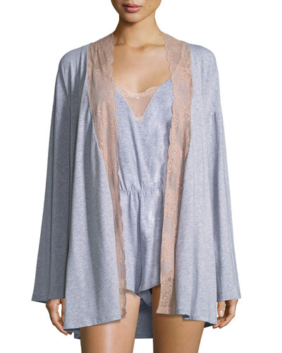 Palazzo Lace-Trim Jersey Kimono and Matching Items