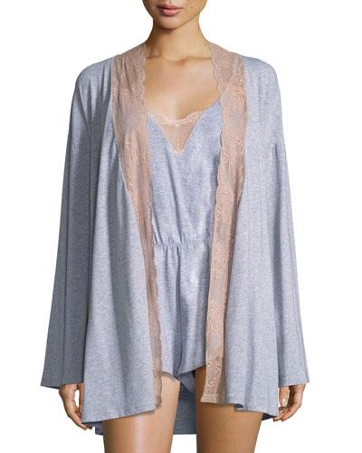 Palazzo Lace-Trim Jersey Kimono and Matching Items