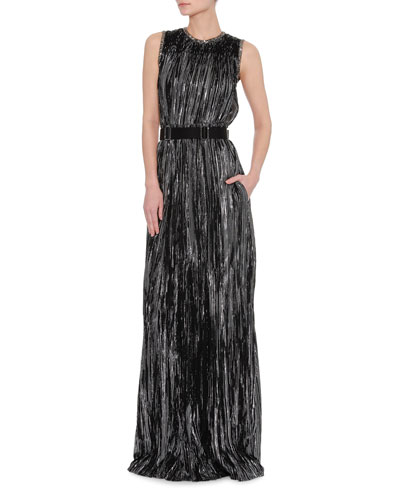 Sleeveless Metallic Jacquard Gown and Matching Items