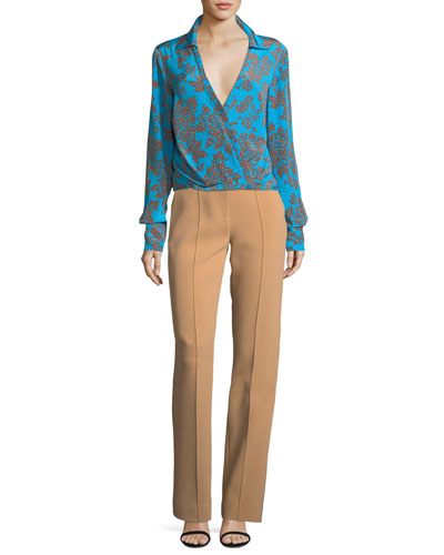 Pleated-Front Wide-Leg Crepe Pants and Matching Items