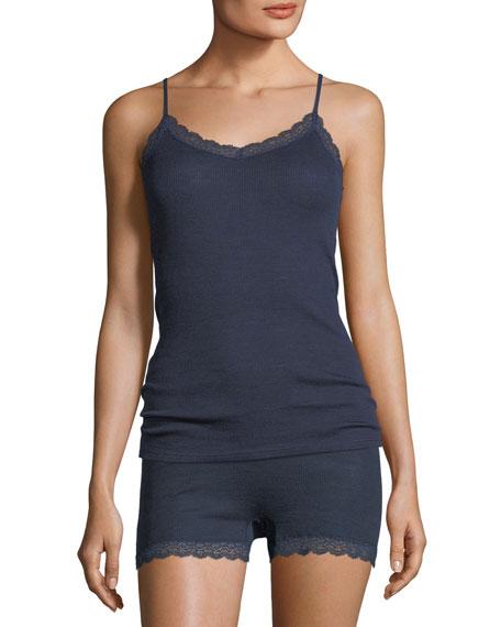 Lace-Trim Knit Wool/Silk Camisole