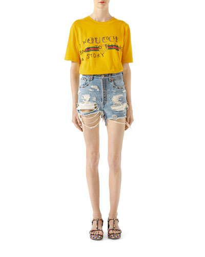 Shredded Bleached Denim Shorts and Matching Items