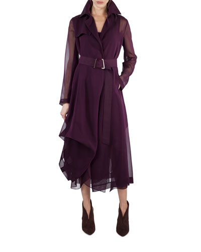 Silk Georgette Sleeveless V-Neck Pleated Dress, Purple and Matching Items