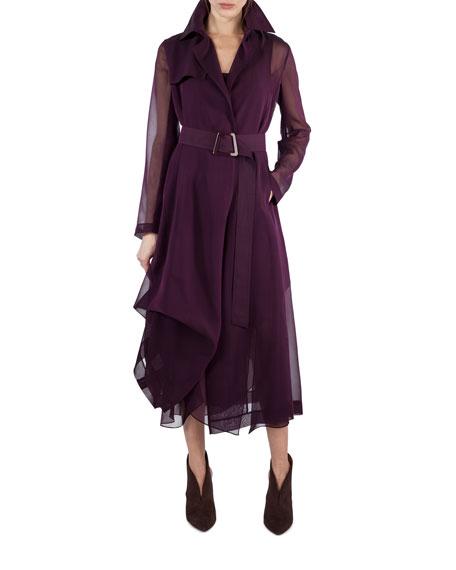 Silk Georgette Sleeveless V-Neck Pleated Dress, Purple