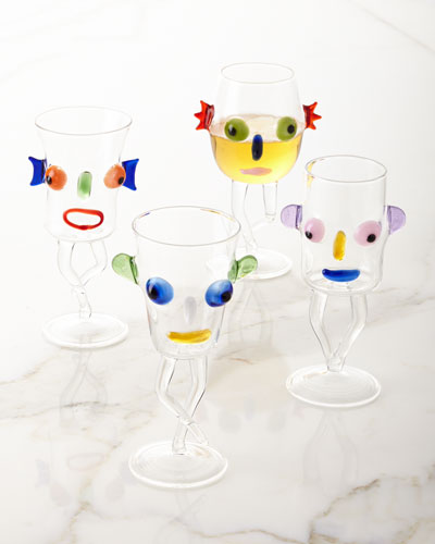 Blues Face Drinking Glass