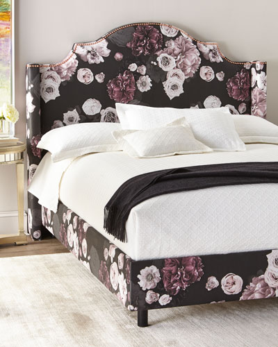 Carmen Floral Icy California King Bed, Black  and Matching Items
