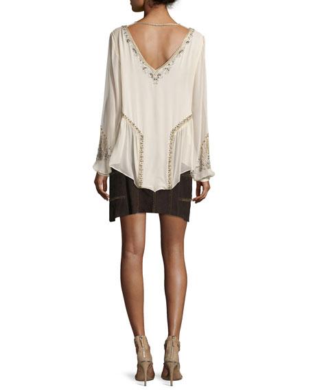Galaxy Long-Sleeve Embellished Silk Top