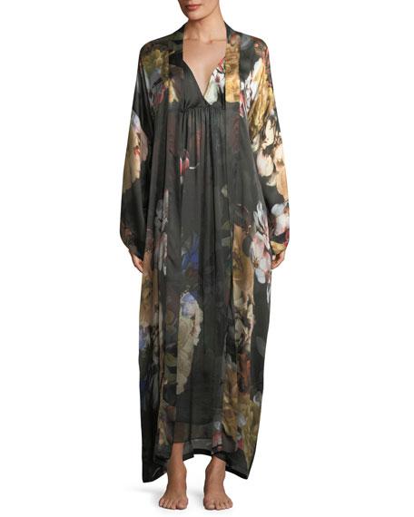 Dark Romance Long Silk Kimono Robe