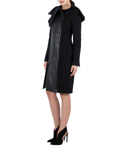 Sleeveless Textured Wool & Leather Sheath Dress, Black and Matching Items