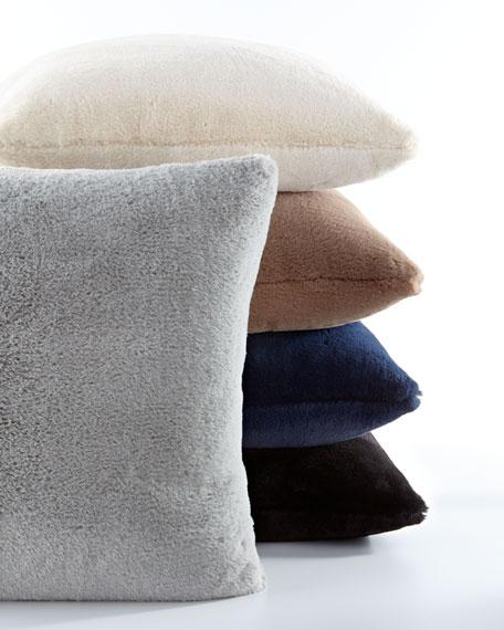 Dier Square Faux-Fur Pillow, Navy