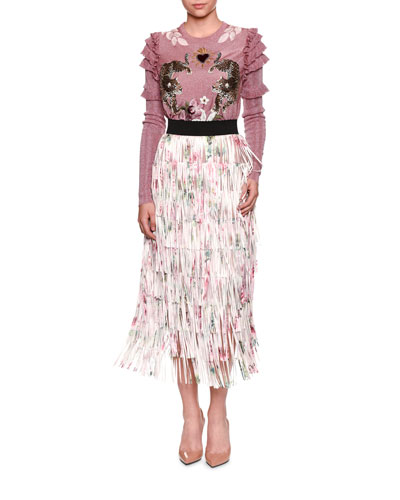 Fringed Rose-Print A-line Tea-Length Skirt and Matching Items