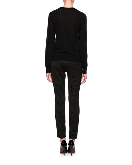 Crewneck Long-Sleeve Cashmere Sweater w/ Heart Applique