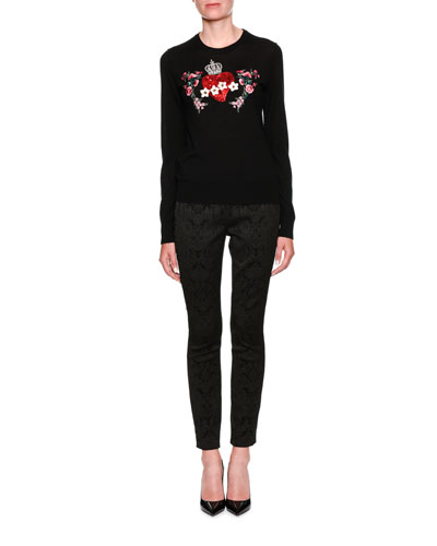Crewneck Long-Sleeve Cashmere Sweater w/ Heart Applique and Matching Items