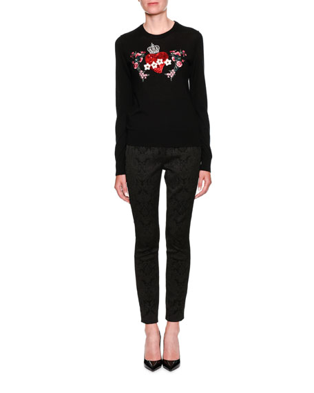 Crewneck Long-Sleeve Cashmere Sweater w/ Heart Applique