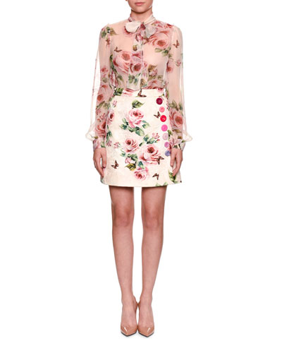 Long-Sleeve Rose-Print Chiffon Blouse w/ Tie Neck and Matching Items