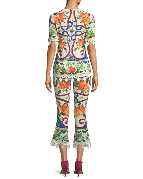 Short-Sleeve Maiolica-Print Top with Crochet Trim