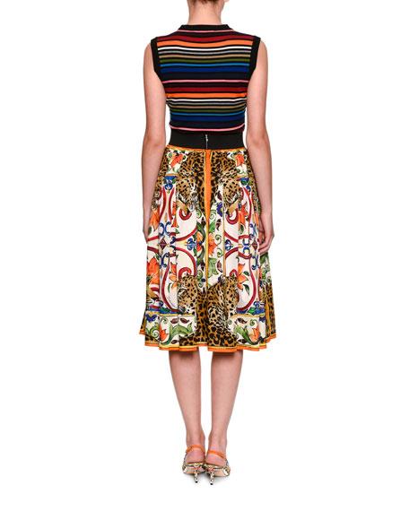 Sleeveless Crewneck Multicolor Striped Knit Top