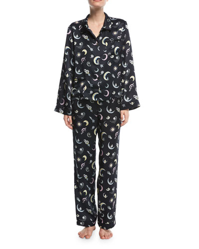 Chantal Moon Jewels-Print Silk Pajama Top and Matching Items
