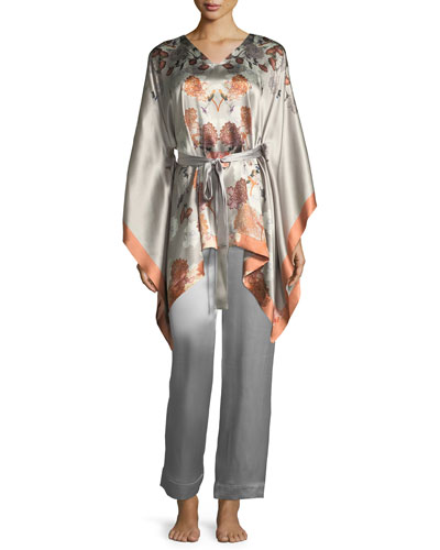 Floral-Print Silk Kimono-Sleeve Lounge Top and Matching Items