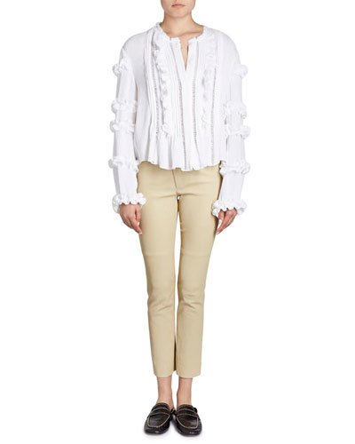 Cosmos Button-Front Blouse with Ruffled Trim and Matching Items