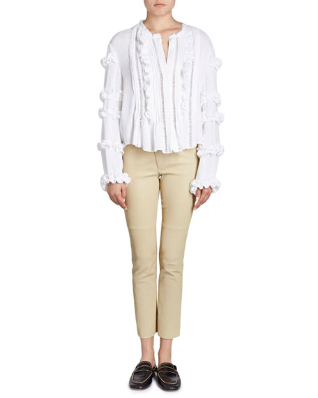 Cosmos Button-Front Blouse with Ruffled Trim