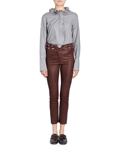 Skinny-Leg Lamb Leather Pants with Buckles and Matching Items
