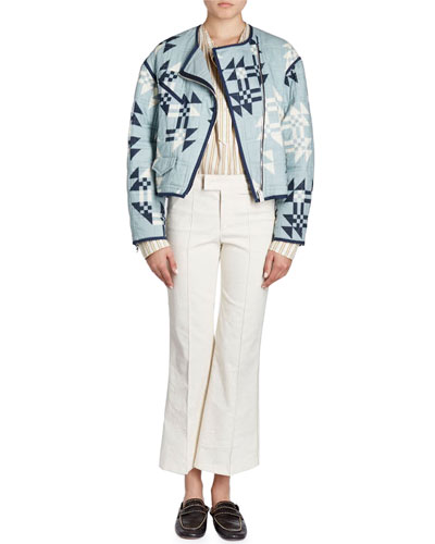 Lazel Zip-Front Origami-Printed Quilted Jacket and Matching Items
