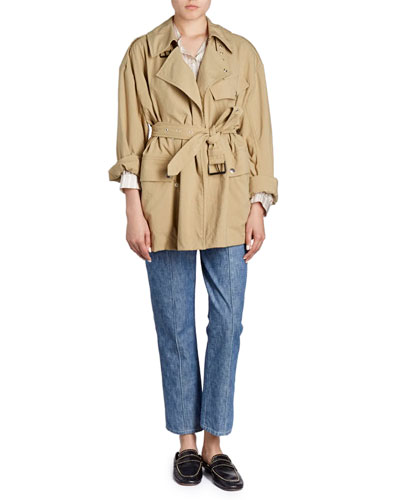 Ilda Striped Silk Satin Blouson Tunic  and Matching Items
