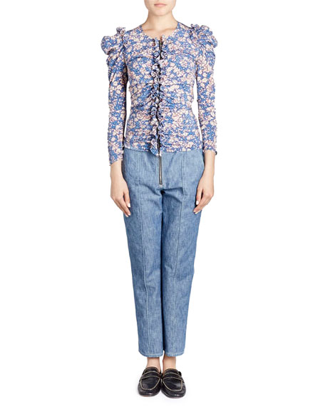 Bali Floral-Print Zip-Front Fitted Ruffled Blouse