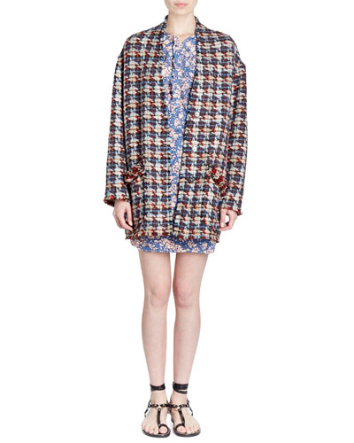 Jamsy Button-Front Oversized Tweed Caban Coat and Matching Items