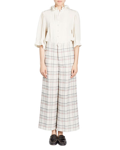 Trevi Prince Of Wales Check Wide-Leg Cropped Pants and Matching Items