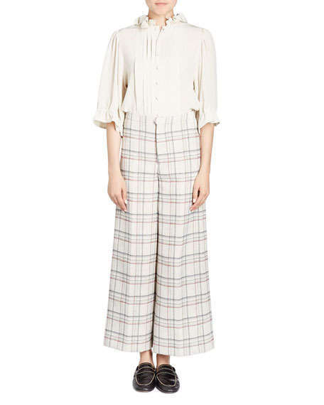 Trevi Prince Of Wales Check Wide-Leg Cropped Pants