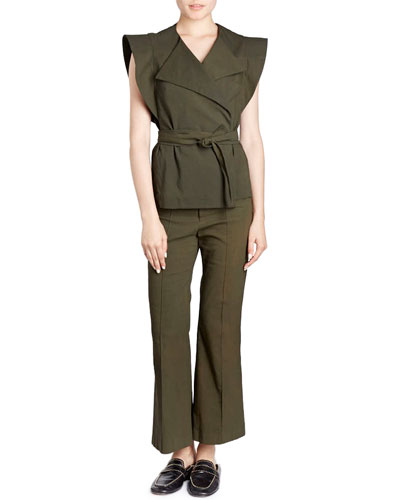 Flat-Front Flared Crop Cotton-Blend Pants and Matching Items
