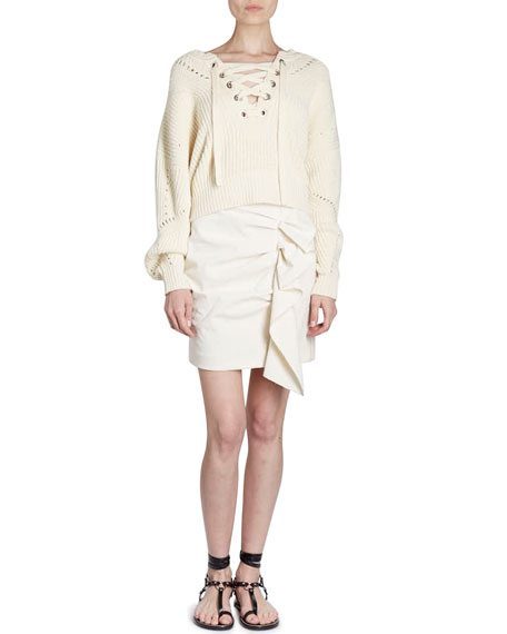 Laley Lace-Front Chunky-Knit Sweater