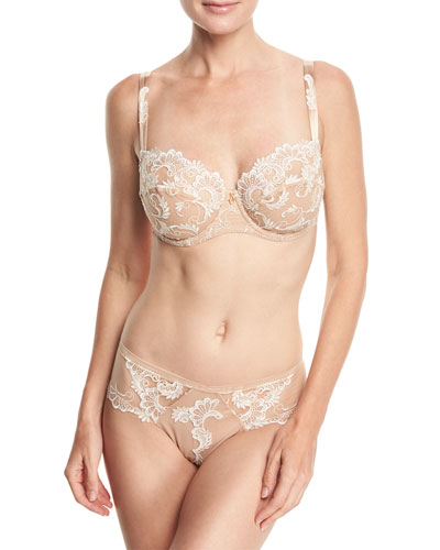 Guipure Charming Lace Demi-Cup Bra and Matching Items