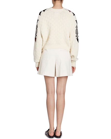 Laytonn Origami-Print Crewneck Pullover Knit Sweater