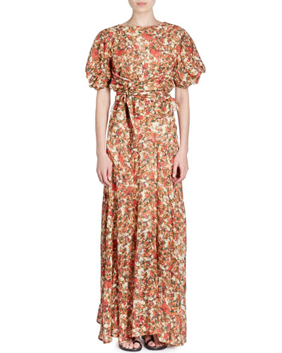 Fleming Belted Floral-Burnout Short-Sleeve Wrap Long Dress and Matching Items