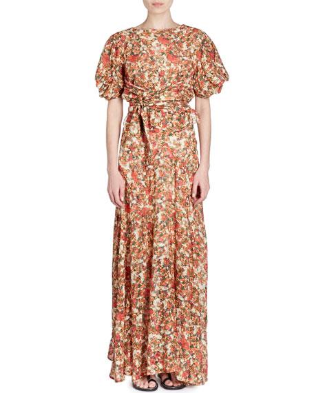 Fleming Belted Floral-Burnout Short-Sleeve Wrap Top