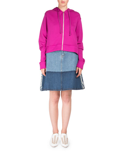 Bemke Hooded Zip-Front Crop Cotton Sweatshirt and Matching Items