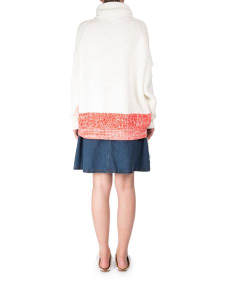 Poppy Chunky Long-Sleeve Turtleneck Sweater w/ Contrast Hem
