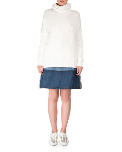 Halona High-Waist A-Line Two-Tone Denim Skirt and Matching Items
